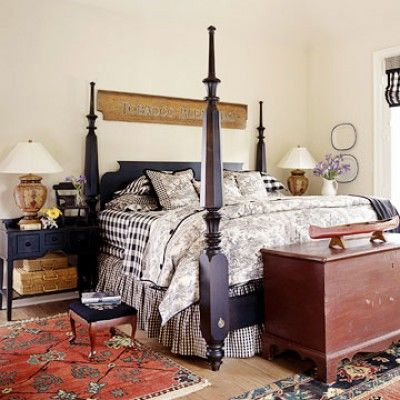 French Country Bedroom - I can do this to my four poster bed ! Love it !
