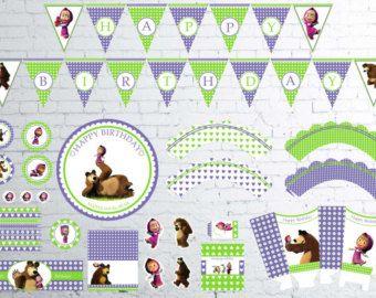 PRECIO CALIENTE -50%! ¡ VENTA! Masha y el oso cumpleaños Party Decor, Digital cumpleaños, decoraciones de la fiesta, suministros, toppers cupcake, bandera del partido