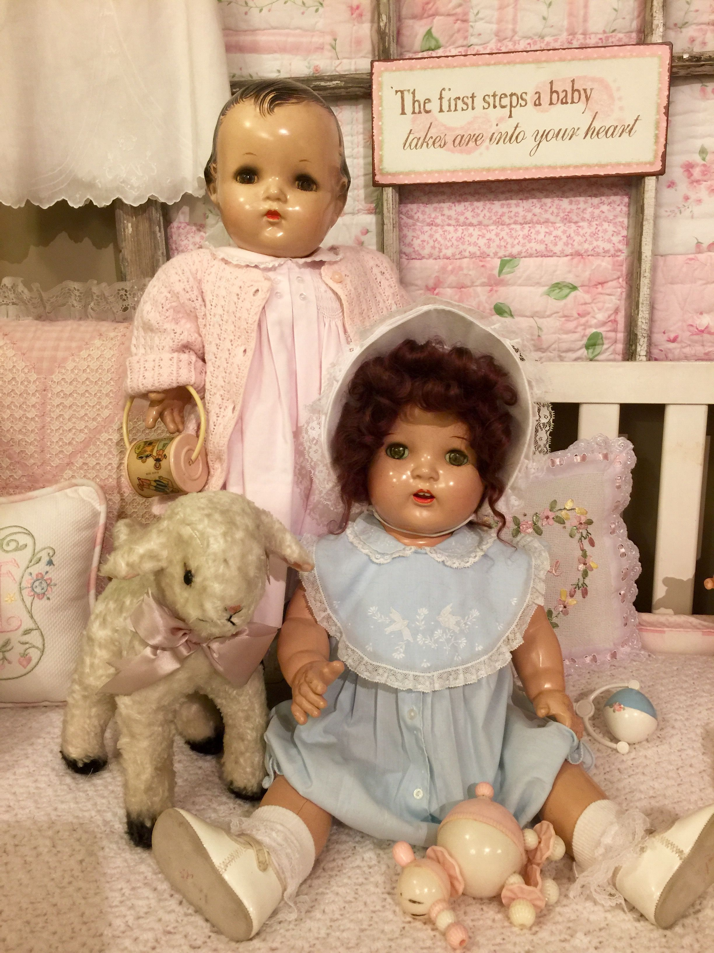 61b358797569 Sweet composition baby dolls. Doll in pink is marked Alexander ...