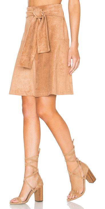 """Eliza skirt by State of Being. Poly blend. Dry clean only. Faux suede. Front tie accent. Hidden back zip closure. Skirt measures approx 20.5"""""""" in le..."""