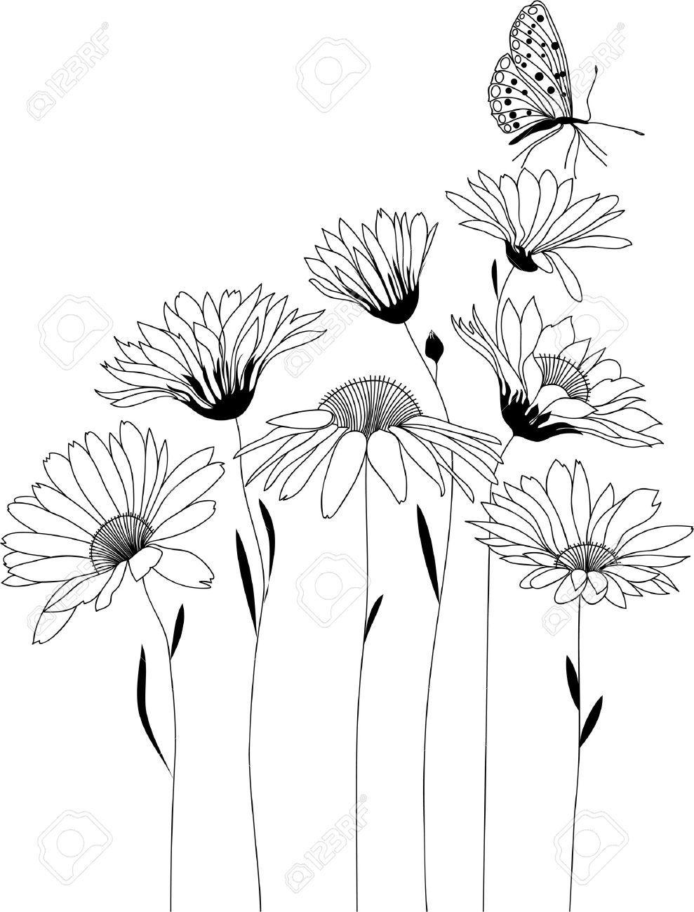 Disegni Fiori Stilizzati Da Colorare : disegni, fiori, stilizzati, colorare, Vettoriale, Disegno, Floreale,, Bouquet, Fiori, Stilizzati,, Illustrazione, Image, 47166921., Fiori,, Dipingere