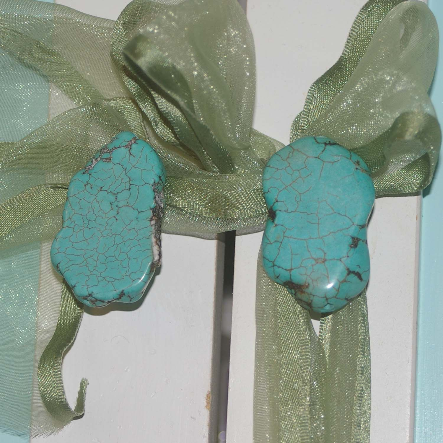 Stone Cabinet Knobs - Factory Made Turquoise -Set of 2. $12.00, via Etsy.