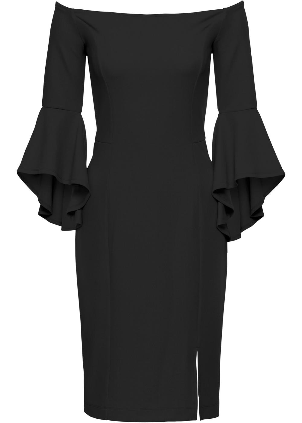 Carmen Kleid Schwarz Bodyflirt Boutique Online Kaufen Bonprix At Kleid Trompetenarmel Carmen Kleid Kleider