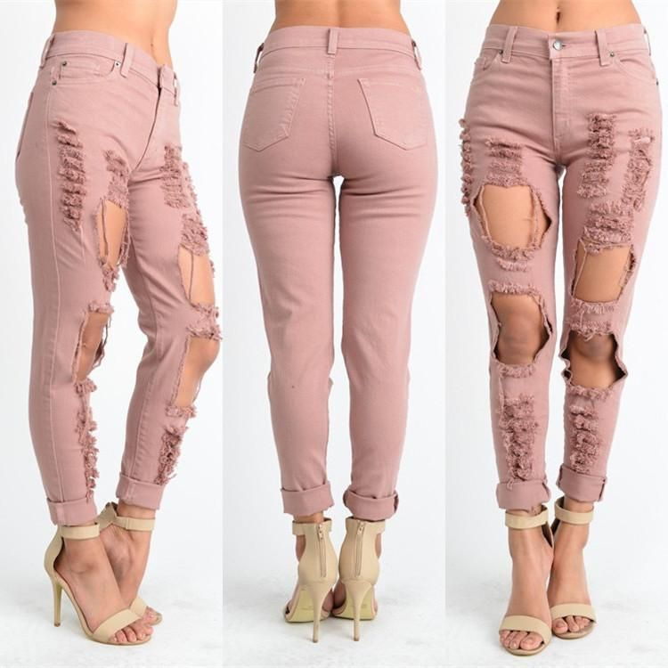 73c39c8835 Pink Ripped Hole Low Waist Long Straight Jeans