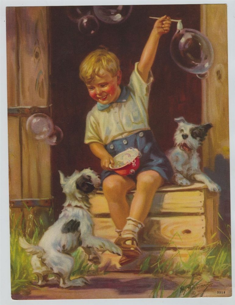 Little Boy Entertaining Puppies with Bubbles by Hy Hintermeister
