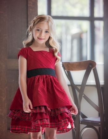 Persnickety Parisian Lisa Dress for Girls in Red PREORDER - Persnickety Parisian Lisa Dress For Girls In Red PREORDER