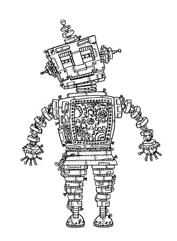 Steampunk Robot Coloring Page