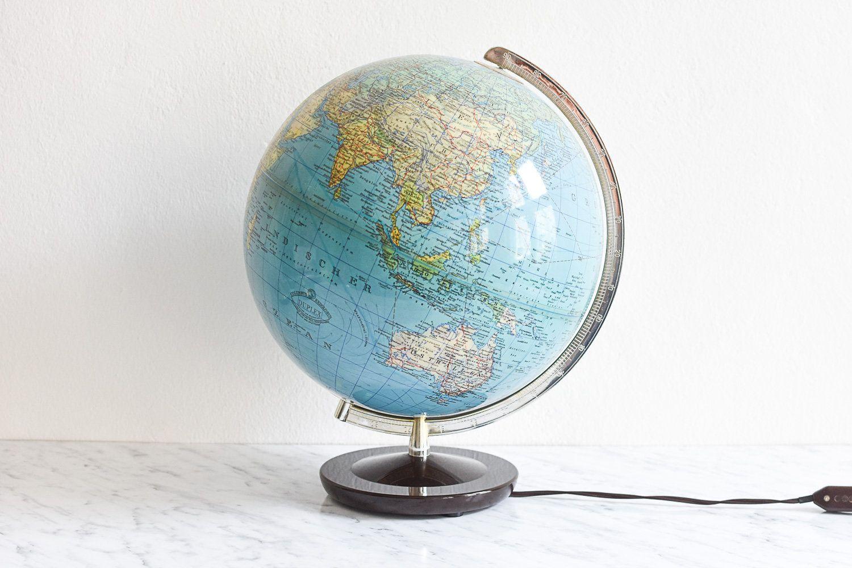 Rath Geographischer Erdglobus Aus Der Ddr 1495 Etsy World Globes Globe Globe Lights