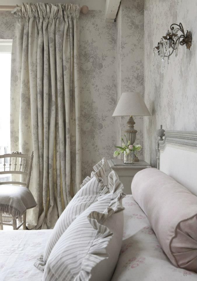 Matching Wallpaper Curtains Shabby Chic Bedrooms Chic Bedroom Home