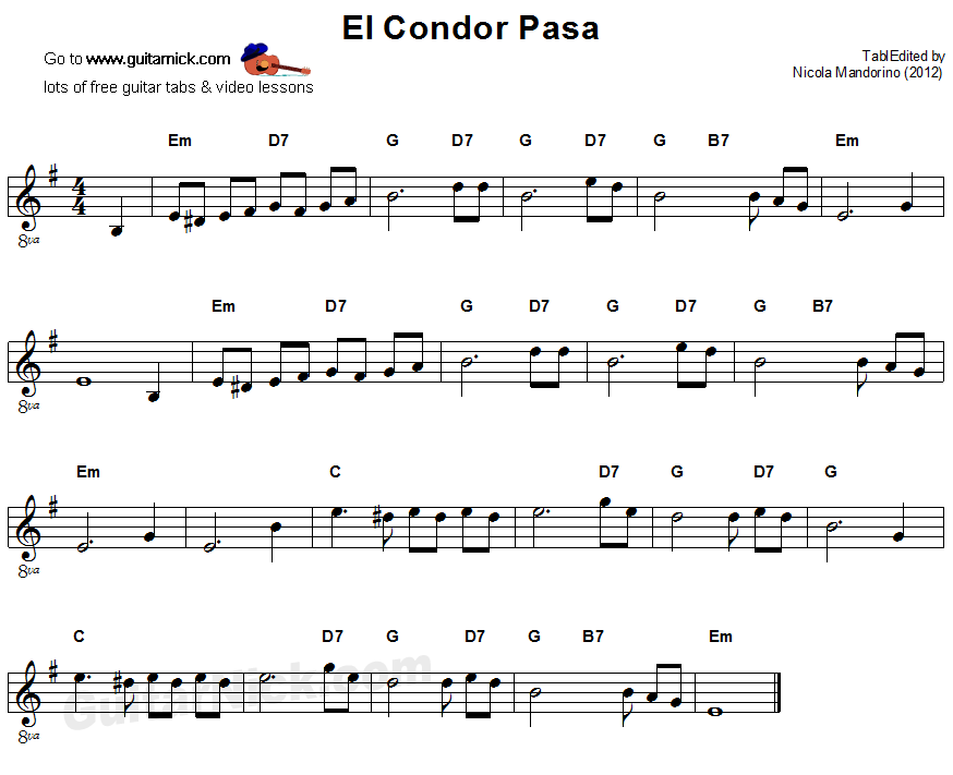 El Condor Pasa: easy guitar sheet music | Partituras | Pinterest ...