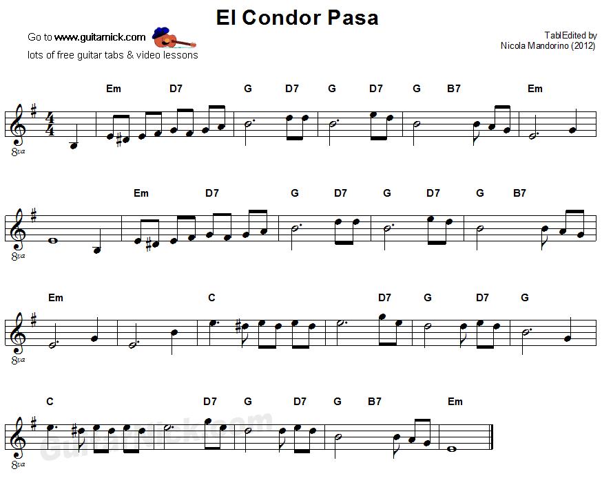 El Condor Pasa Easy Guitar Sheet Music Partituras Pinterest