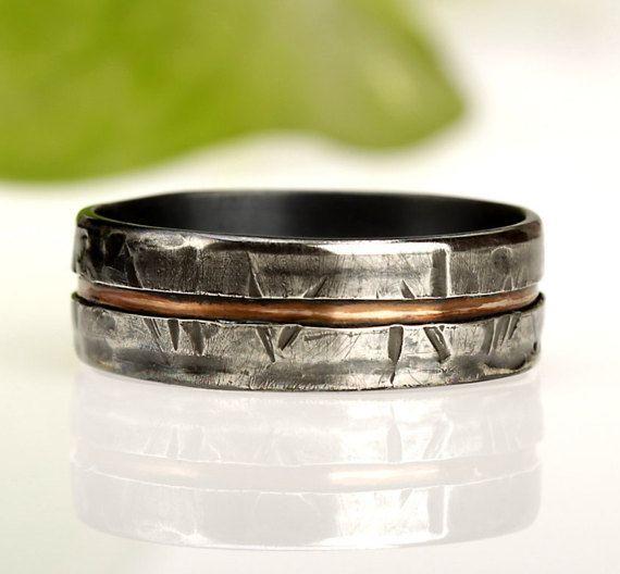 Rustic Men\'s ring, Unique Men\'s ring, Man\'s Wedding Band, Unique ...