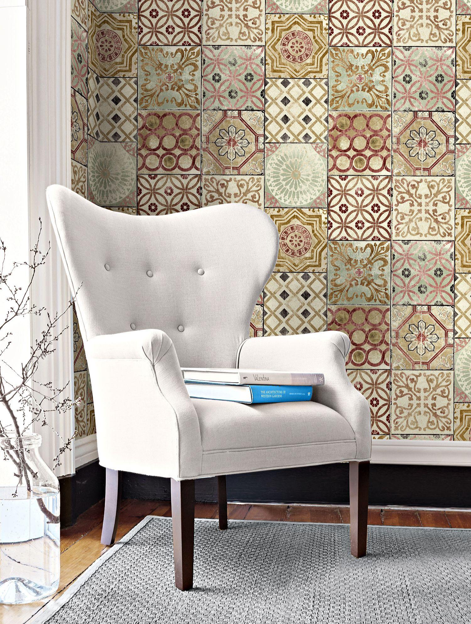 Gw1011 Moroccan Tiles Peel And Stick Wallpaper Gold Rust Celadon Peel And Stick Wallpaper Moroccan Tiles Moroccan Tiles Pattern
