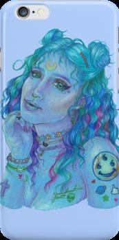 <3 SPACE GODDESS <3  Artwork made by EmpressAmethyst on RedBubble: http://www.redbubble.com/people/empressamethyst/works/21687285-space-grunge-girl?p=iphone-case&ref=work_carousel_work_portfolio_2