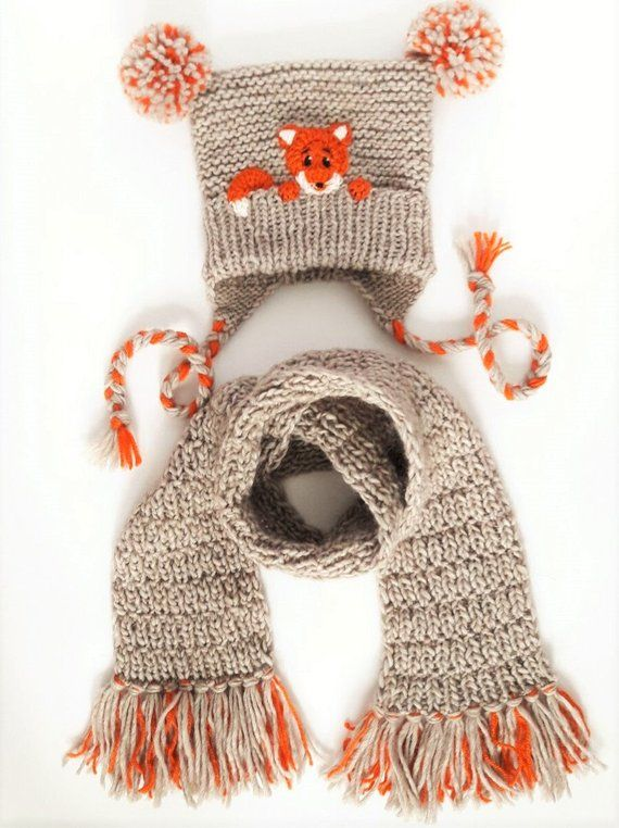 Photo of Hat and Scarf, Fox Hat, Winter Accessories, Pom Pom Hat, Scarf with Fringe, Winter Outfit, Kids Fashion, Earflap Hat, Kids Outfit, Cute Hat