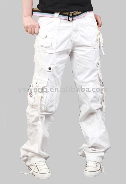 All White Cargo Pants