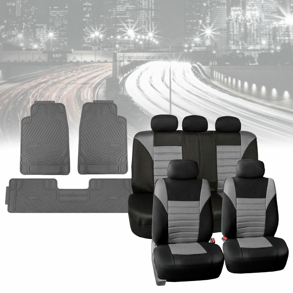 Mesh Car Seat Covers in Gray with Gray Floor Mats Heavy