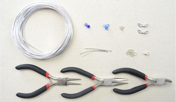 Picture of Materials needed in making silver angel wing necklace