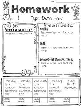 Weekly Newsletter Template Homework Template First Grade