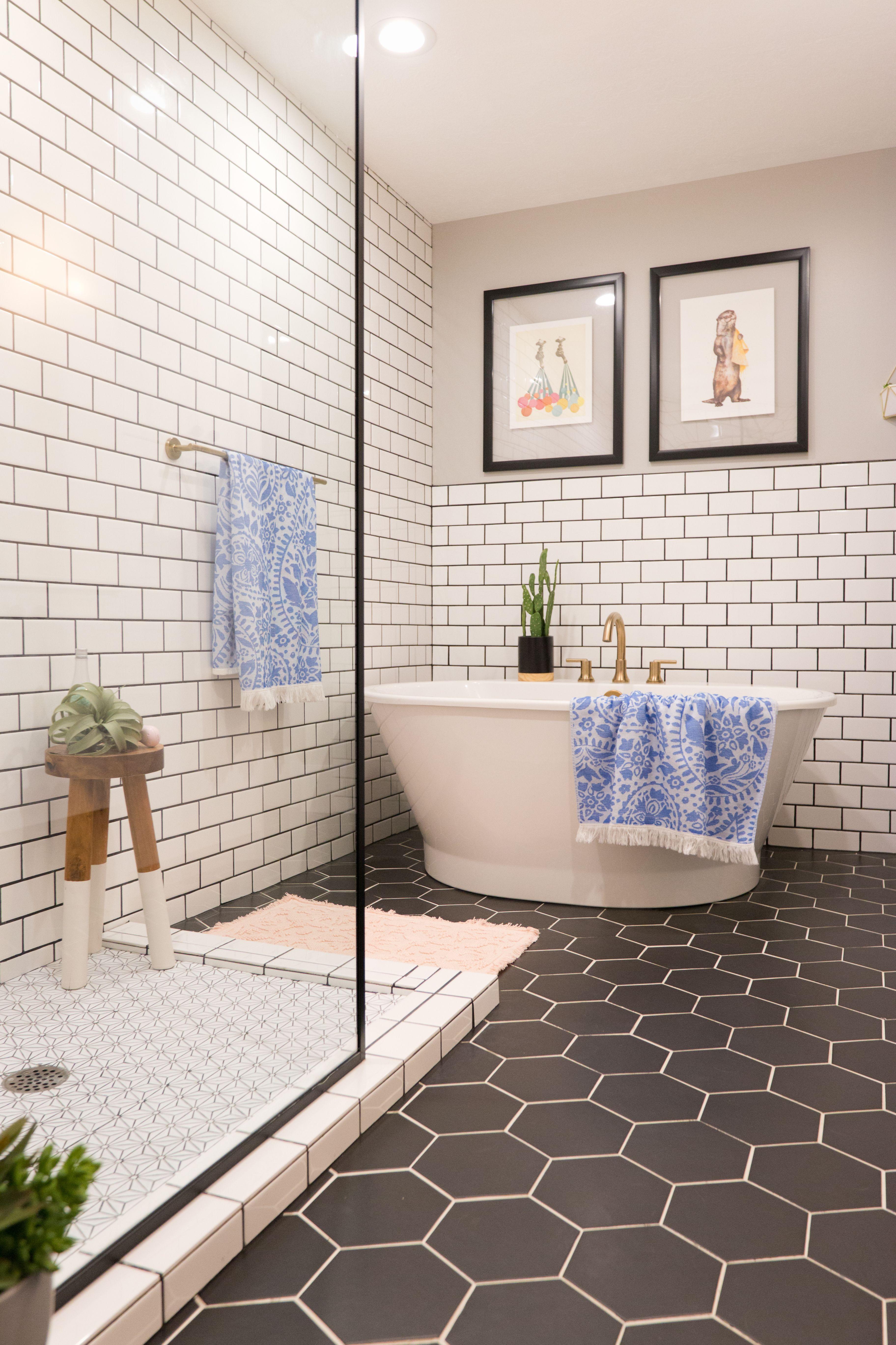 Midcentury Bathroom Black Hexagon Tile Subway Tile Bath White Bathroom Tiles Bathroom Tile Renovation Bathroom Shower Tile