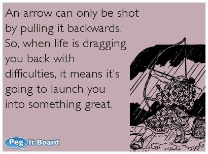 Ecard About Life An Arrow Can Only Be Shot By Pulling It