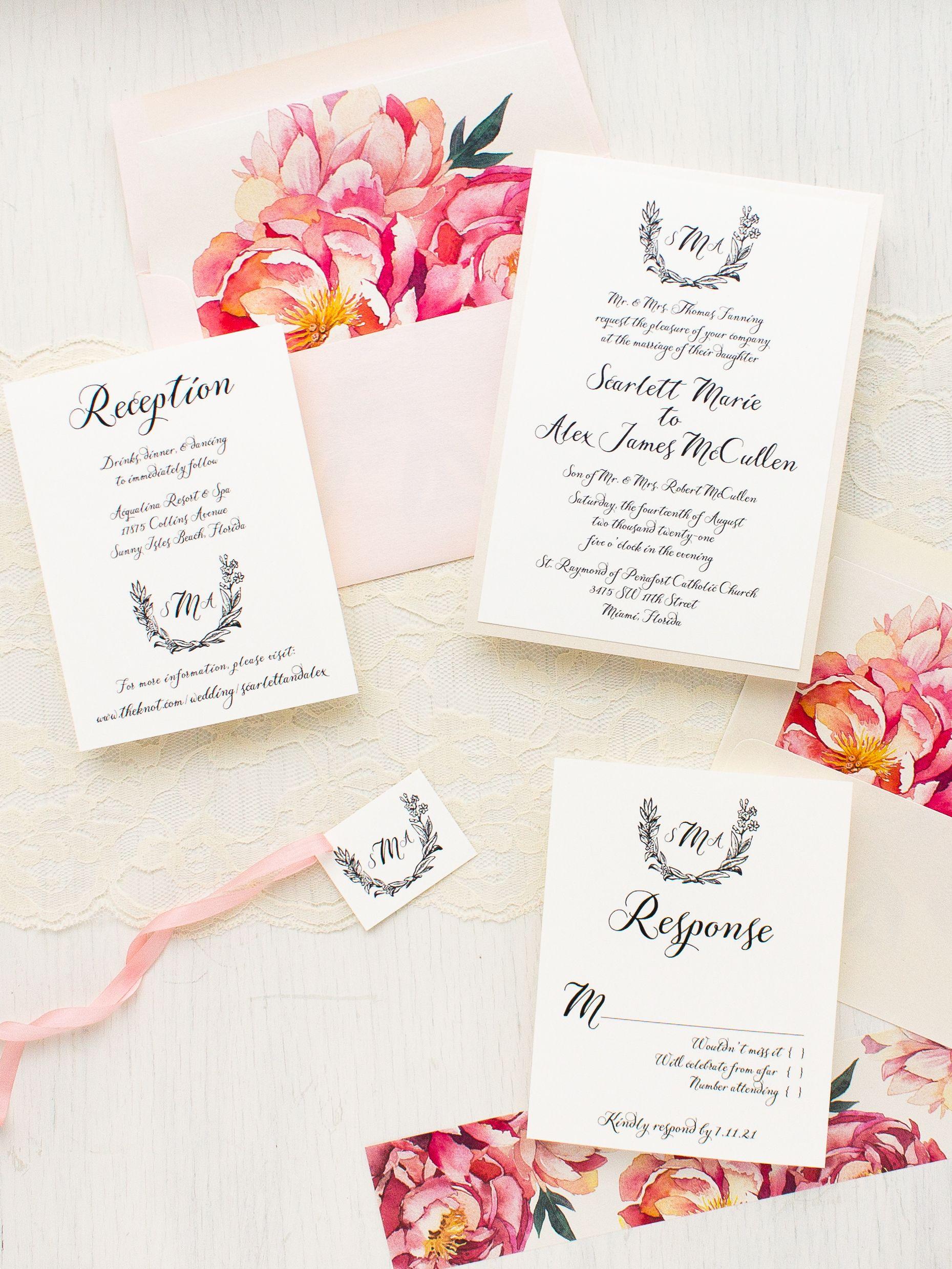 Pink Peonies Wedding Invitations | Peony, Blush pink weddings and ...