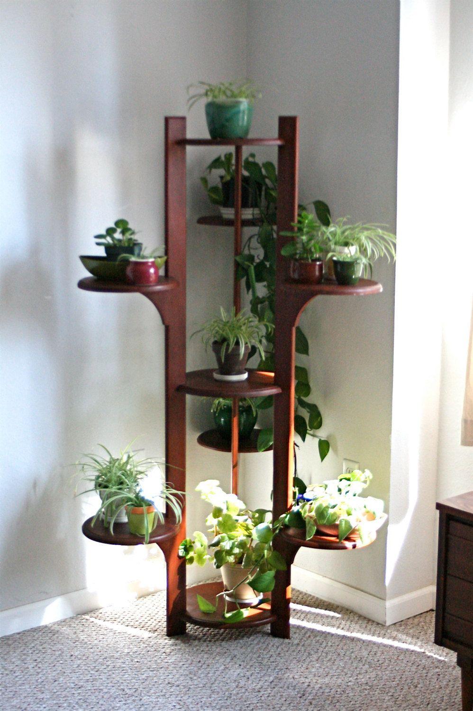 Amazing 5 Foot Mid Century Modern Teak Wood Plant Shelf