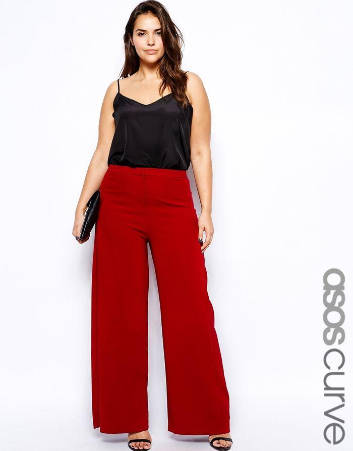 ASOS CURVE Pleat Front Wide Leg Trousers red wine pants plus size ...
