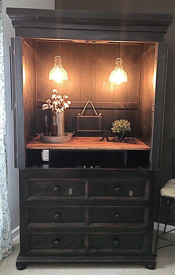SOLD Wine Bar Cabinet Armiore In Distressed Black, Dresser ...