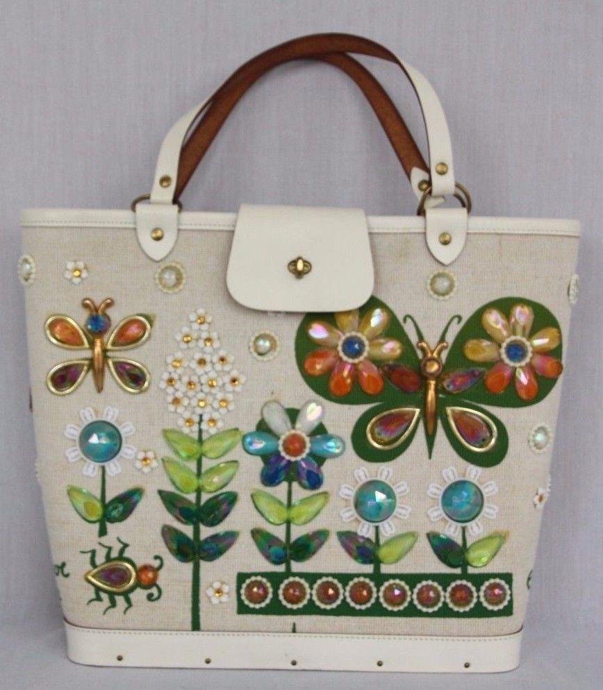 Vintage Enid Collins Summertime Jeweled Purse Handbag Tote Erfly Garden Enidcollins Bucket