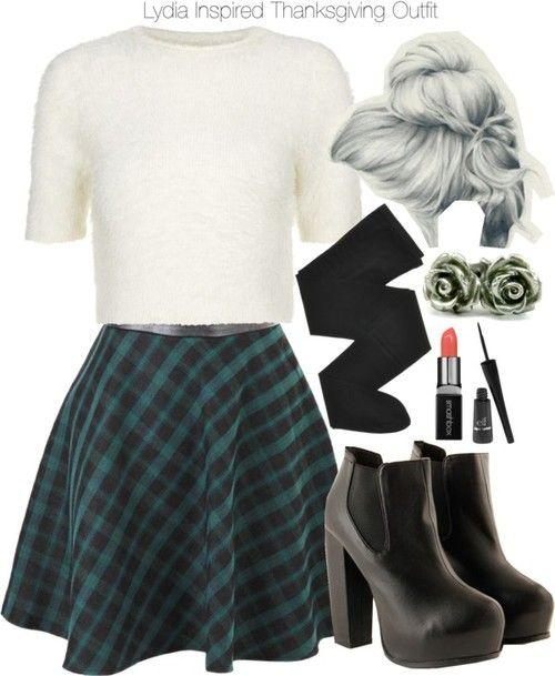 Crop top, $29 / Skater skirt, $24 / Gerbe black tight, $55 / Platform boots, $41 / Titanium earrings / Smashbox lips makeup / E l f eyeliner