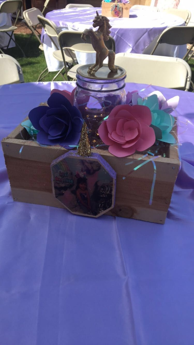 Unicorn centerpiece party wood made