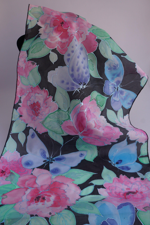 50fadf53f013 écharpe soie peint main, écharpe soie fleurie, écharpe femme, écharpe soie  floral, art vestimentaire, papillon