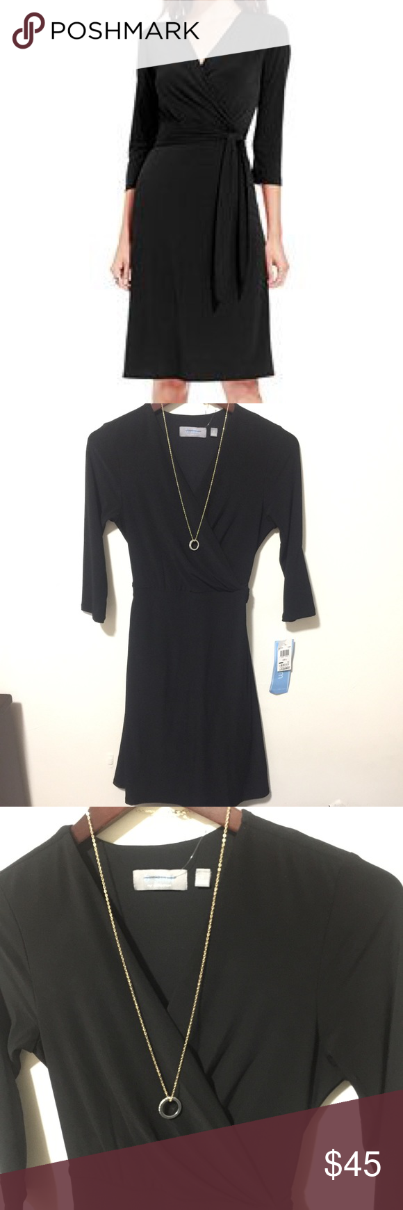 Make offers tummy slimmer tech black wrap dress nwt my posh