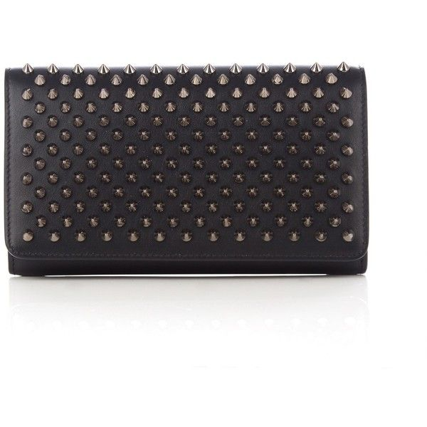 Christian Louboutin Macaron spike-embellished leather wallet ($620) ❤ liked on Polyvore featuring bags, wallets, red leather wallet, spiked wallet, christian louboutin, pocket wallet and leather pocket wallet