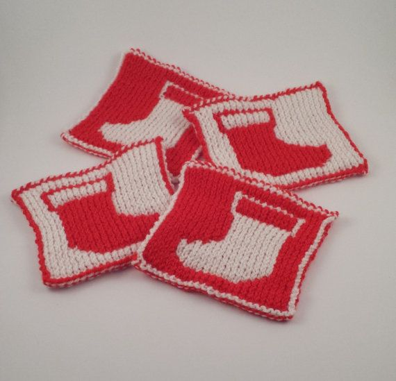 Set of 4 Christmas Stocking reversible hand knit coasters https://www.etsy.com/listing/170628275/red-and-white-christmas-stocking
