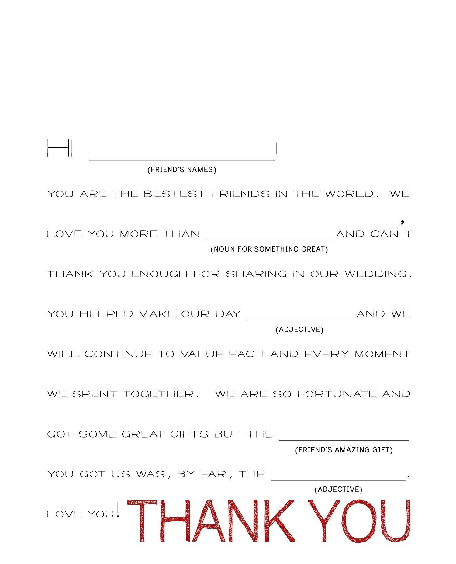 Thank You Note Template Best Idea Wedding For Gift Free Sample Example Format