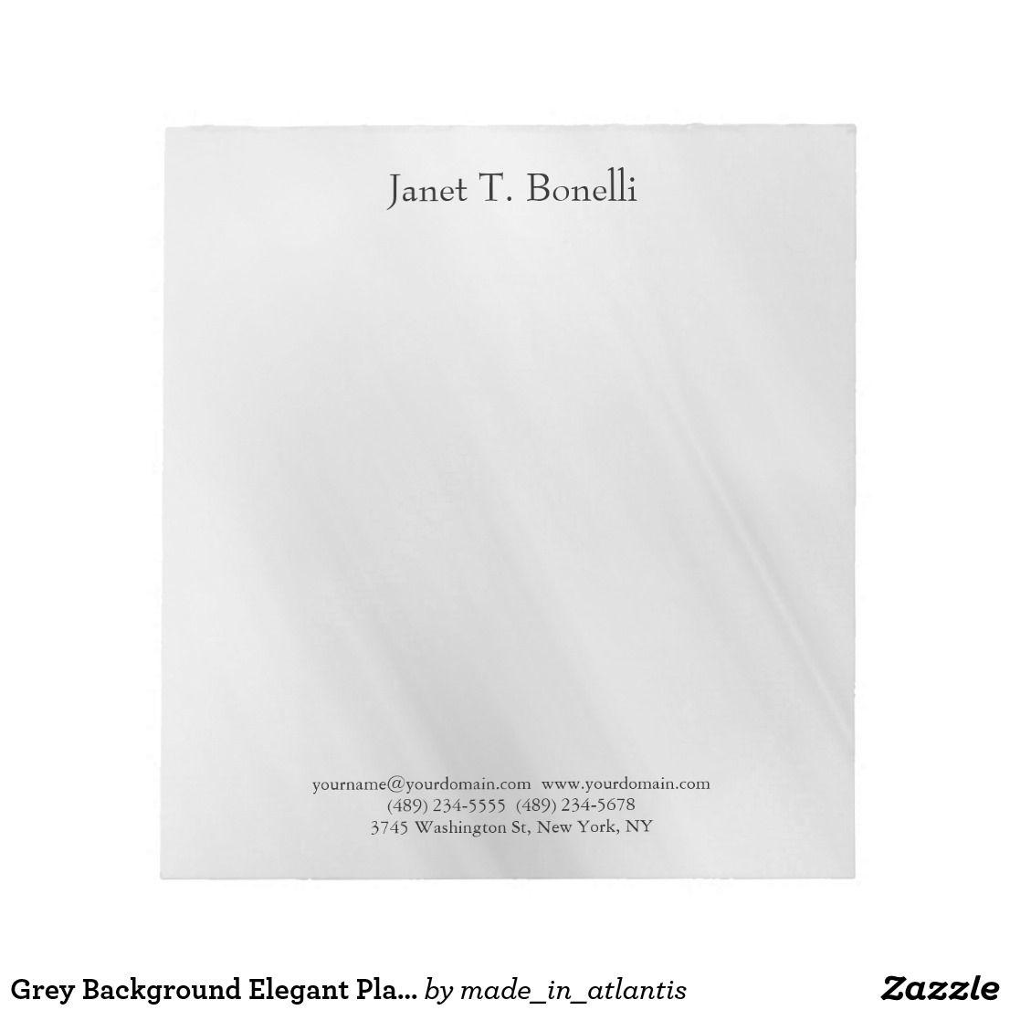 Grey Background Elegant Plain Simple Professional Notepad