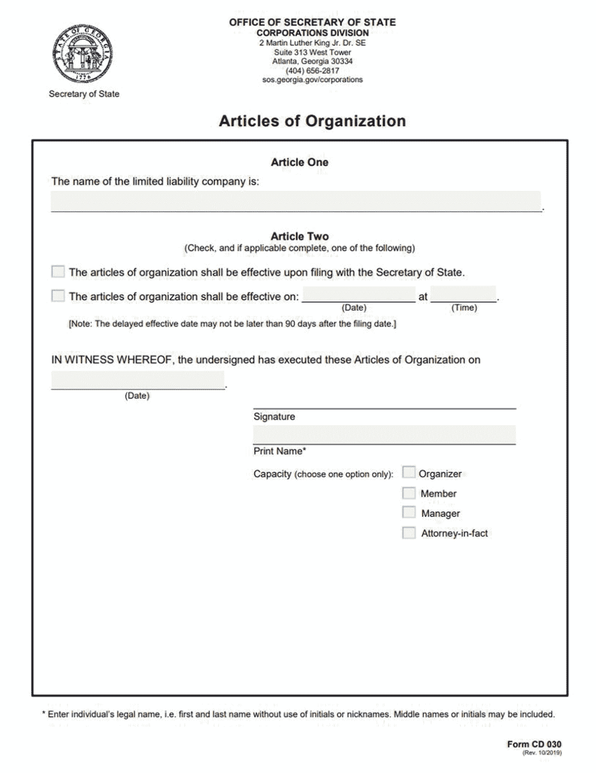 Llc Georgia How To Form An Llc In Georgia For Llc Annual Report Template Best Templates Templates Professional Templates