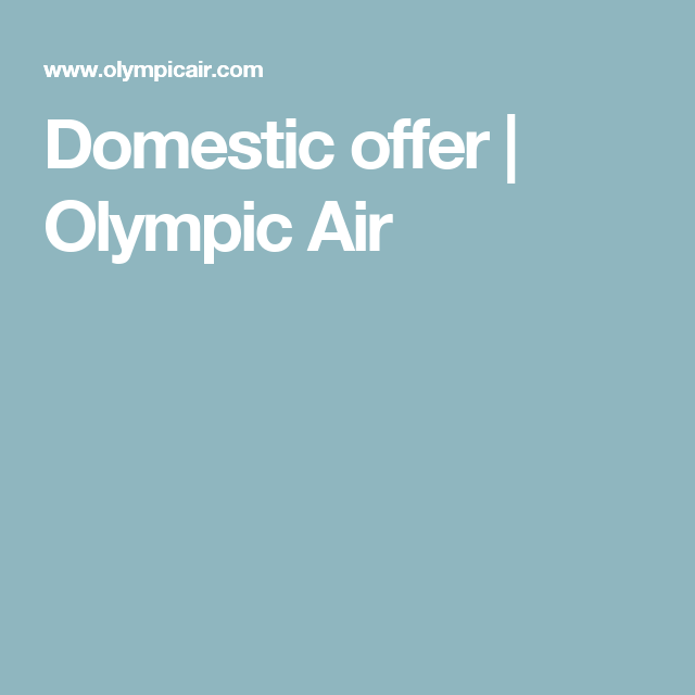 Domestic offer | Olympic Air