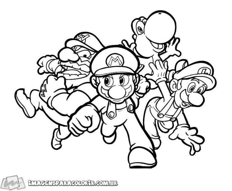 Super Mario Bowser Yoshi E Luigi Com Imagens Paginas Para