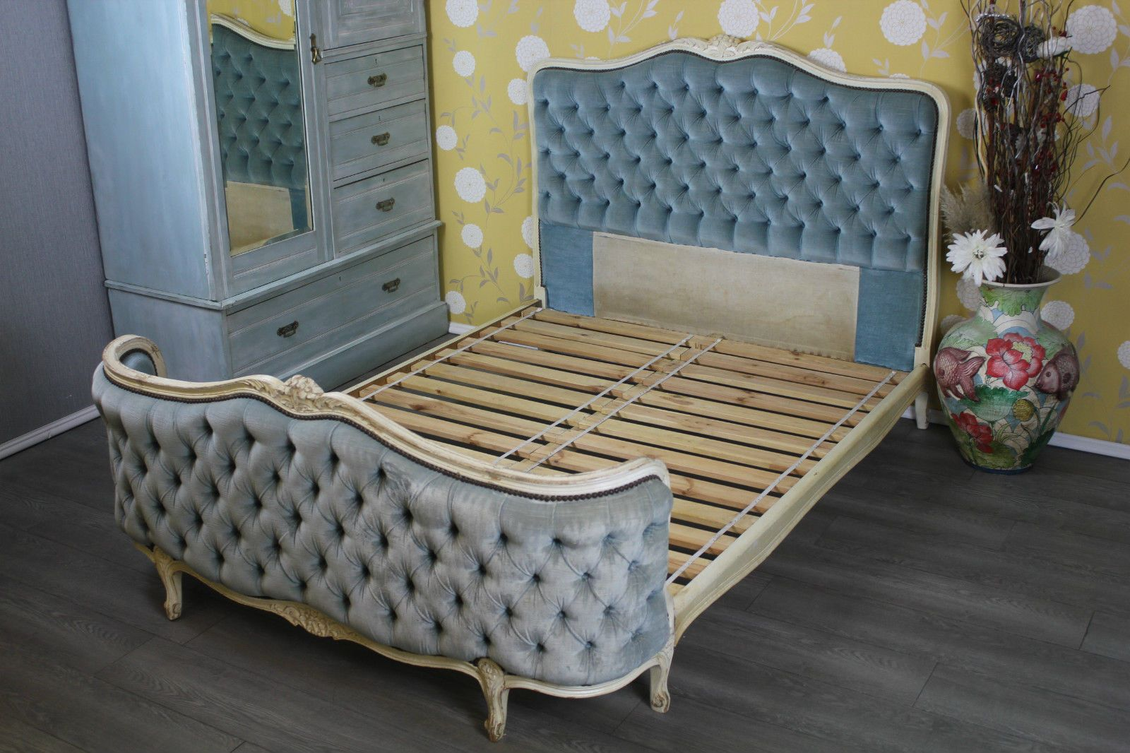 French antique demi corbeille double bed shabby chic french