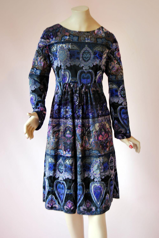 Vintage 70's Art Nouveau Print Empire Dress http//www