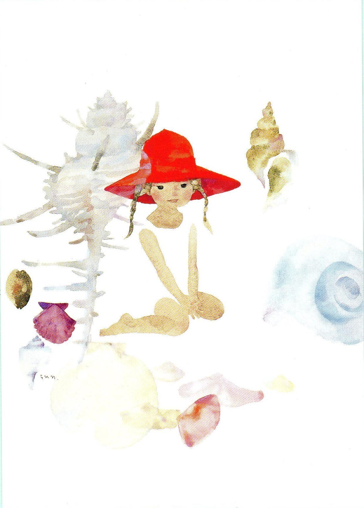 貝がらと赤い帽子の少女 いわさきちひろ Chihiro Iwasaki