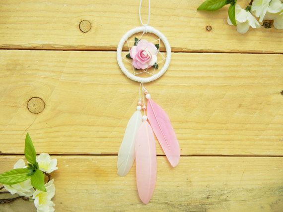 Whimsical Pink Flower Car Dreamcatcher: Pink Car Accessory, Pink Car Decor, Interior Car Accessory for Women, Rearview Mirror Accessory