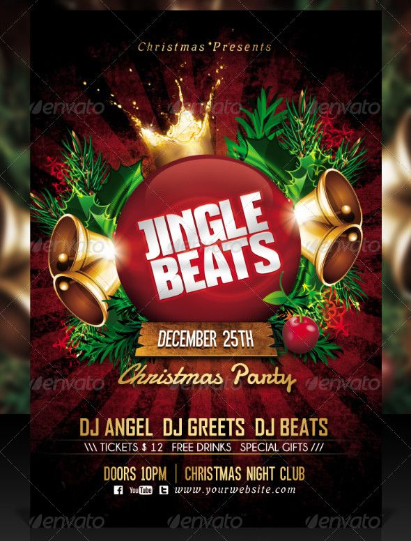 Jingle Beats Christmas Party Poster xmas inspirado Pinterest - free printable christmas flyers templates