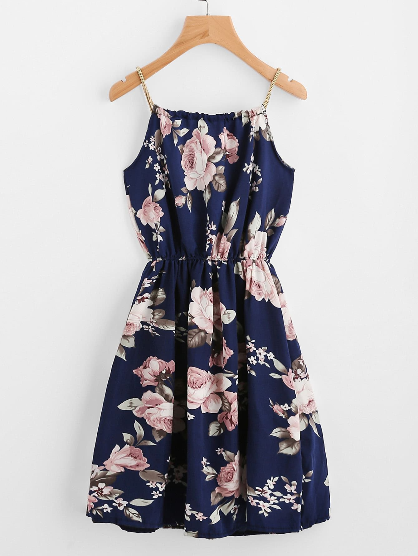 1f17d9f2b1 Boho Slip Floral Fit and Flare Pleated Spaghetti Strap Sleeveless ...