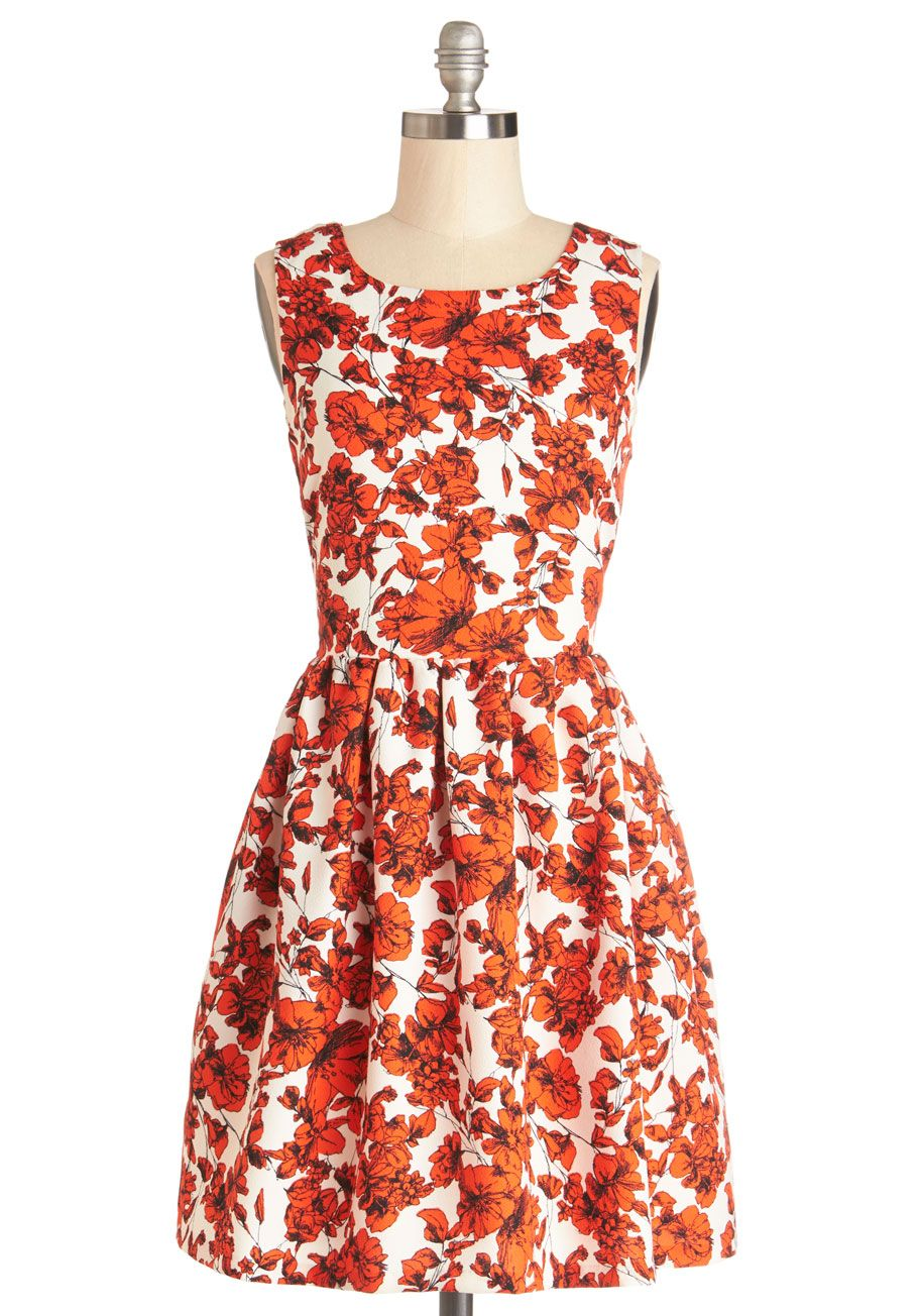 3591ed10c2a50 ... family plans a weekend at the beach, the first things you pack are your  sketchbook and this white and red floral dress by Bea Dot! #orange #modcloth