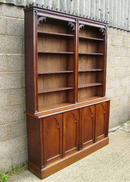 Vintage Library | ANTIQUE FURNITURE WAREHOUSE   Antique Victorian Oak  Library Bookcase .