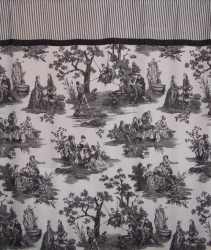 Waverly Home Black White Toile Stripe Shower Curtain French ...